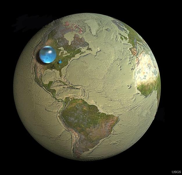Ziemskie zapasy wody (USGS)