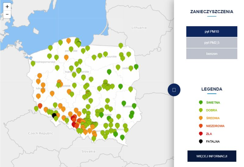 Stężenie pyłu PM10 po godzinie 13 (tvnmeteo.pl za GIOŚ)