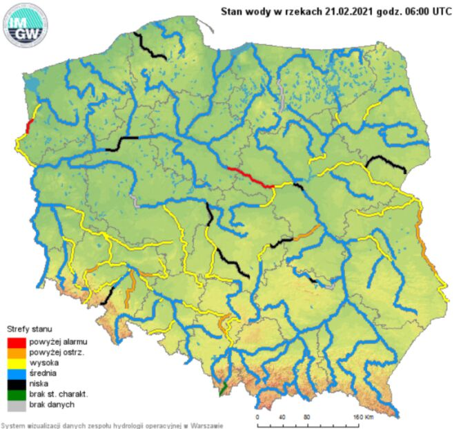 Stan wody w rzekach w Polsce, dane na 21.02.2021 z godz. 6 (IMGW)