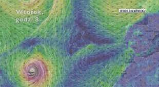 Prognozowana trasa huraganu Lorenzo (Ventusky.com)